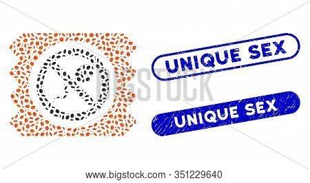 Mosaic Spermicide Condom And Rubber Stamp Seals With Unique Sex Caption. Mosaic Vector Spermicide Co