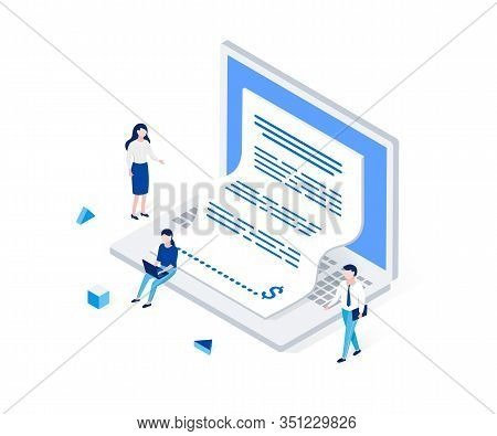Electronic Invoice, Notice Of Payment Isometric Concept., Laptop With A Check Coming Out Of The Scre