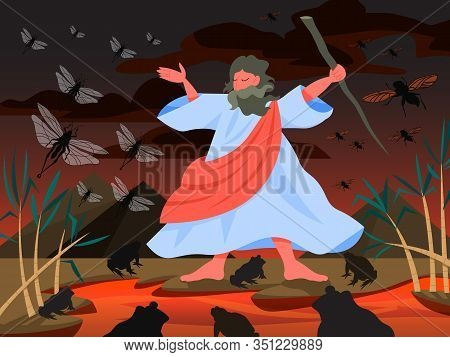 Bible Narratives About Plagues Of Egypt. Christian Bible Character.