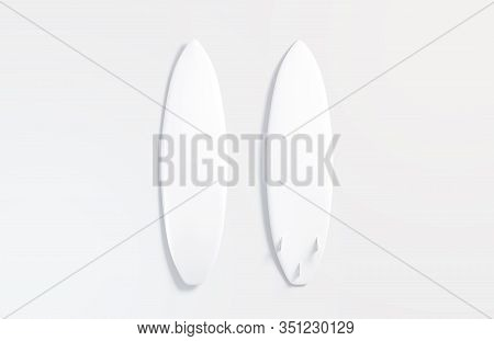 Blank White Wood Surfboard Mockup Set, Front And Back, Gray Background, 3d Rendering. Empty Water-sk