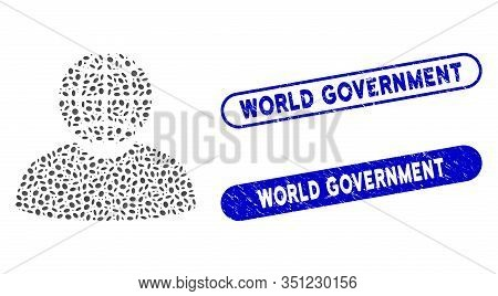 Mosaic Global Politician And Corroded Stamp Seals With World Government Caption. Mosaic Vector Globa