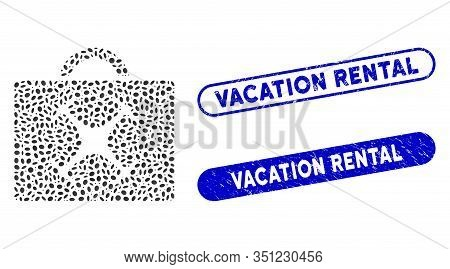 Mosaic Drone Toolbox And Grunge Stamp Seals With Vacation Rental Phrase. Mosaic Vector Drone Toolbox