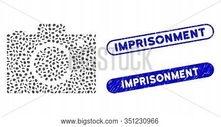 Mosaic Camera And Grunge Stamp Watermarks With Imprisonment Text. Mosaic Vector Camera Is Composed W