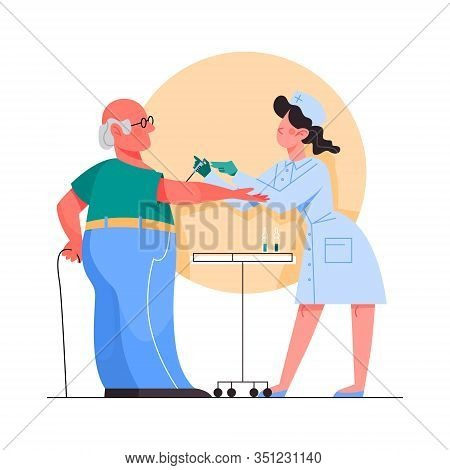 Vaccination Concept. Old Man Having A Vaccine Injection.