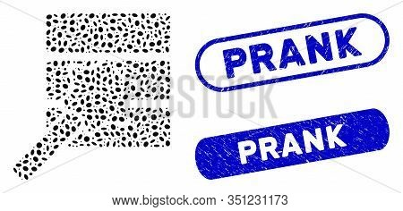 Mosaic Database Wizard And Rubber Stamp Seals With Prank Caption. Mosaic Vector Database Wizard Is C