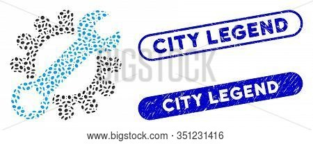 Collage Service Tools And Grunge Stamp Seals With City Legend Text. Mosaic Vector Service Tools Is F