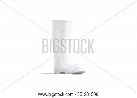Blank White Rubber Wellington Boot Mock Up, Side View, 3d Rendering. Empty Worker Or Gardener Safety
