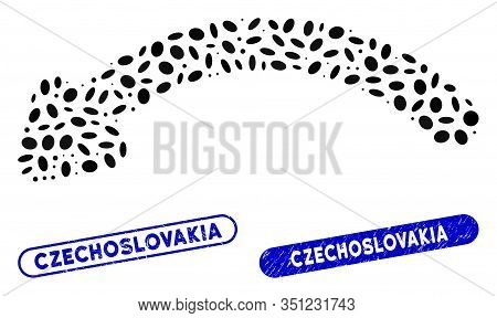 Mosaic Undo And Corroded Stamp Seals With Czechoslovakia Caption. Mosaic Vector Undo Is Created With