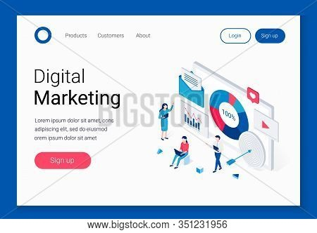 Digital Marketing Isometric Concept. Advertising And People Characters. People Are Developing A Mark