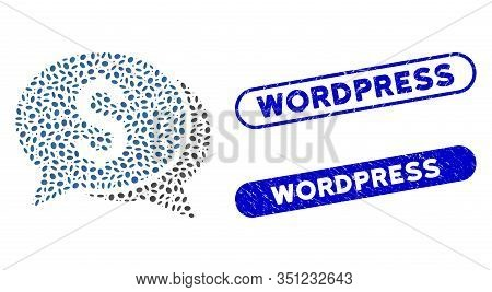 Mosaic Money Chat And Rubber Stamp Seals With Wordpress Phrase. Mosaic Vector Money Chat Is Composed