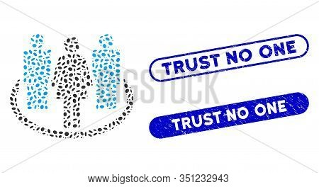 Collage Society And Grunge Stamp Seals With Trust No One Phrase. Mosaic Vector Society Is Composed W