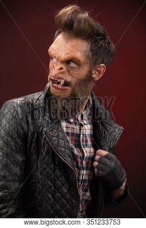 Portrait Of Monkey Man. Monkey Man Cinematic Make-up For Horror Movie
