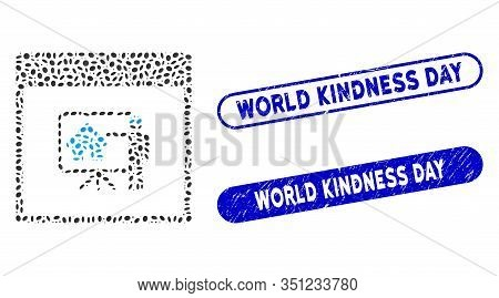 Mosaic Realty Developer Calendar Page And Grunge Stamp Seals With World Kindness Day Caption. Mosaic