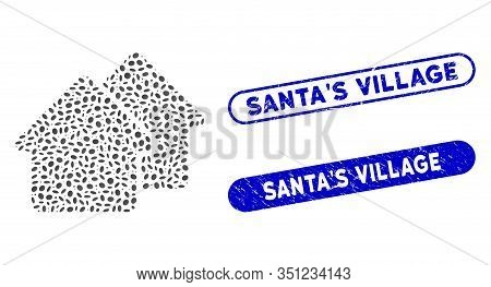 Mosaic Village And Rubber Stamp Seals With Santas Village Phrase. Mosaic Vector Village Is Composed