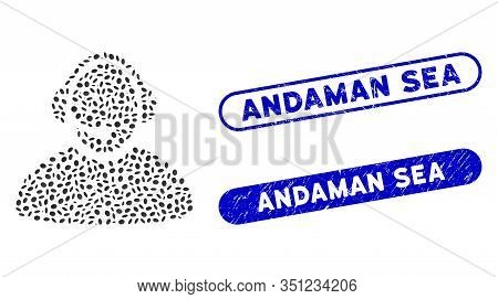 Mosaic Call Center Operator And Rubber Stamp Seals With Andaman Sea Caption. Mosaic Vector Call Cent