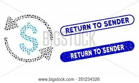 Mosaic Money Turnover And Grunge Stamp Seals With Return To Sender Text. Mosaic Vector Money Turnove