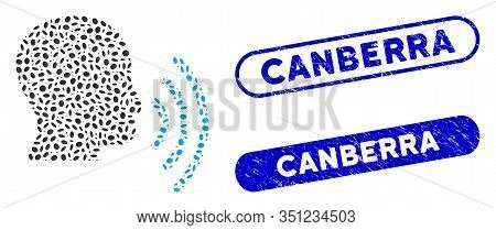 Mosaic Person Speech Waves And Grunge Stamp Watermarks With Canberra Phrase. Mosaic Vector Person Sp