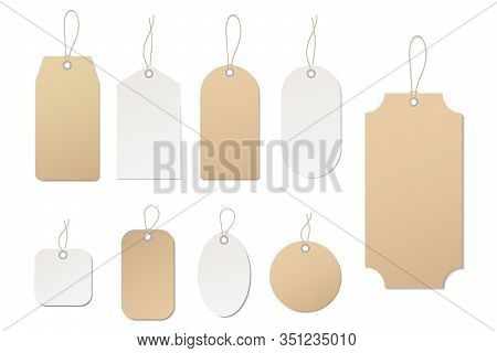 Vector Price Tag. Blank Paper Label. Template Empty Tag For Price Of Buy In Shop, Hang Sale, Gift Ca