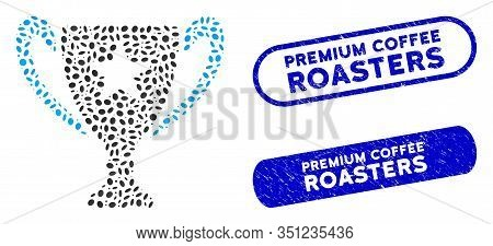 Mosaic Trophy Cup And Grunge Stamp Watermarks With Premium Coffee Roasters Text. Mosaic Vector Troph
