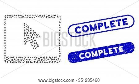 Mosaic Tablet Arrow Pointer And Distressed Stamp Seals With Complete Phrase. Mosaic Vector Tablet Ar