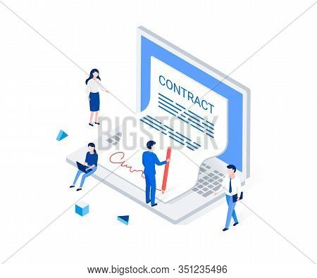 Digital Signature And E-business Isometric Concept. Businessman Signs A Contract With A Digital Sign