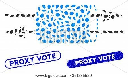 Mosaic Vpn Pipe And Corroded Stamp Watermarks With Proxy Vote Text. Mosaic Vector Vpn Pipe Is Formed