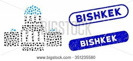 Mosaic Government Buildings And Corroded Stamp Seals With Bishkek Phrase. Mosaic Vector Government B
