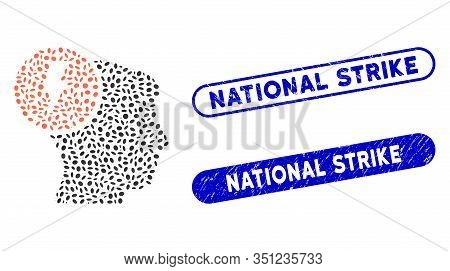 Mosaic Brain Electricity And Corroded Stamp Seals With National Strike Text. Mosaic Vector Brain Ele