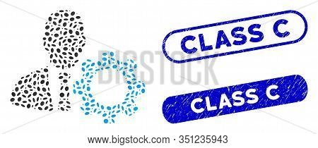 Mosaic Serviceman And Distressed Stamp Seals With Class C Text. Mosaic Vector Serviceman Is Created