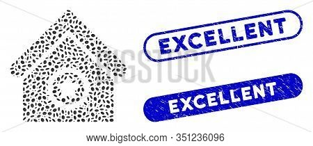 Mosaic Excellent Building And Grunge Stamp Seals With Excellent Phrase. Mosaic Vector Excellent Buil