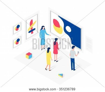 People In Art Gallery Isometric Concept. Showroom, Modern Art, Exposition. Design For Website Templa