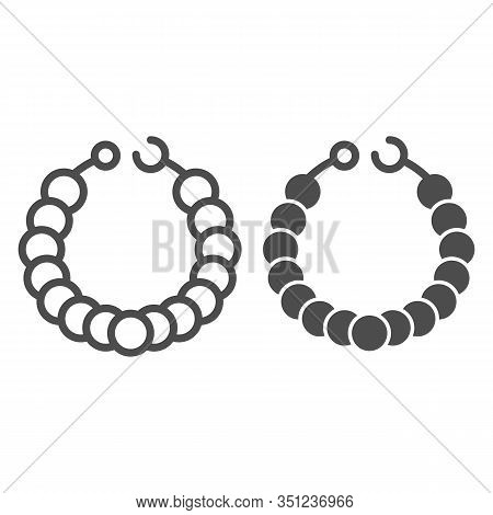 Pearl Necklace Line And Glyph Icon. Necklace On Mannequin Vector Illustration Isolated On White. Jew