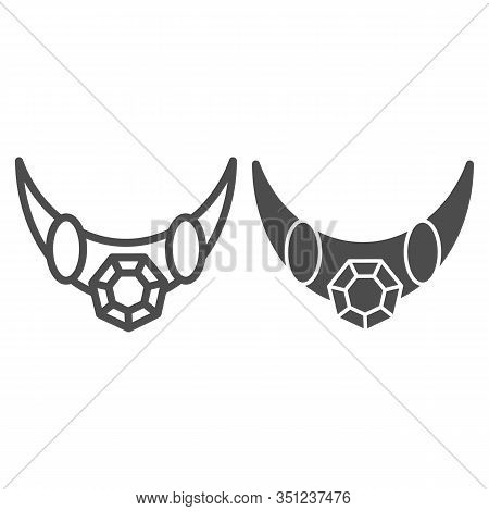 Emerald Necklace Line And Glyph Icon. Necklace With Big Gemstone Vector Illustration Isolated On Whi