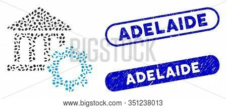 Mosaic Bank Options And Distressed Stamp Seals With Adelaide Phrase. Mosaic Vector Bank Options Is C