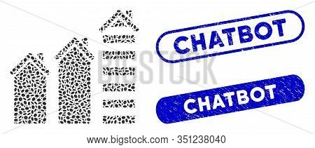 Mosaic Realty Trend And Rubber Stamp Seals With Chatbot Phrase. Mosaic Vector Realty Trend Is Formed