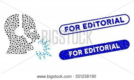 Mosaic Operator Shout And Grunge Stamp Watermarks With For Editorial Text. Mosaic Vector Operator Sh