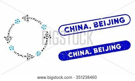 Mosaic Rotate And Rubber Stamp Seals With China, Beijing Caption. Mosaic Vector Rotate Is Created Wi