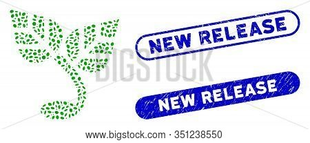 Mosaic Sprout And Corroded Stamp Watermarks With New Release Caption. Mosaic Vector Sprout Is Compos