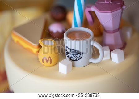 Bangkok, Thailand - February 17, 2020: Close Up Of Toy Decoration On Tumbler From Amazon Brand At Am