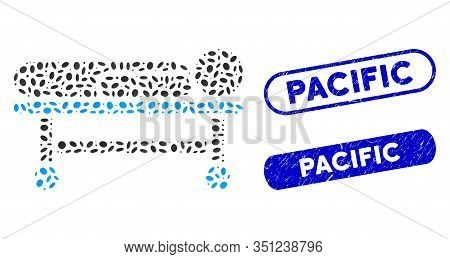 Collage Patient Stretcher And Grunge Stamp Seals With Pacific Phrase. Mosaic Vector Patient Stretche