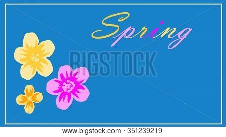 Spring Flower Landscape. Spring Blooming Spring Flowers Against Blue Background. Multi-colored Flowe