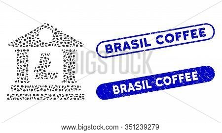 Mosaic Litecoin Bank Building And Corroded Stamp Seals With Brasil Coffee Phrase. Mosaic Vector Lite