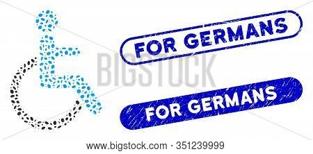 Mosaic Disabled Person And Grunge Stamp Seals With For Germans Phrase. Mosaic Vector Disabled Person