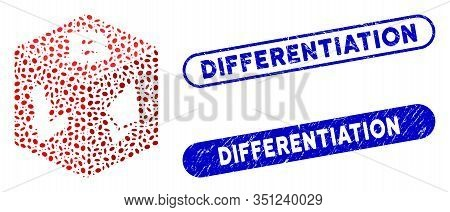 Mosaic Cryptocurrency Dice And Grunge Stamp Seals With Differentiation Caption. Mosaic Vector Crypto