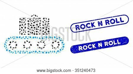 Mosaic Baggage Conveyor And Corroded Stamp Seals With Rock N Roll Text. Mosaic Vector Baggage Convey
