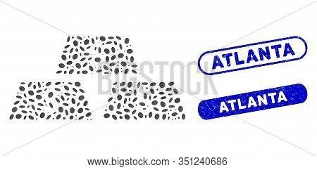 Collage Dollar Bullion Bars And Corroded Stamp Seals With Atlanta Phrase. Mosaic Vector Dollar Bulli
