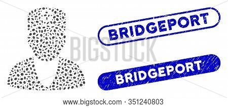 Mosaic Medic And Grunge Stamp Seals With Bridgeport Caption. Mosaic Vector Medic Is Created With Ran
