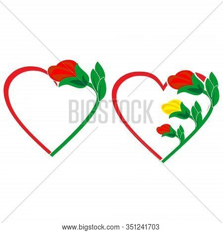 Heart Icon. Red Love Icons Decorated With Roses, Isolated Heart Icons White Background. Heart Icon A