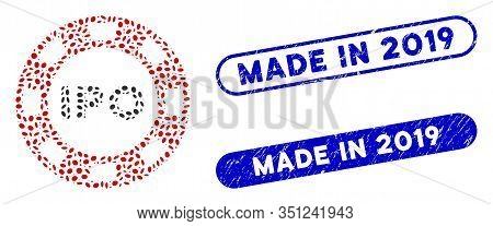 Mosaic Ipo Token And Distressed Stamp Seals With Made In 2019 Text. Mosaic Vector Ipo Token Is Desig