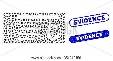 Mosaic Euro Ticket And Corroded Stamp Seals With Evidence Phrase. Mosaic Vector Euro Ticket Is Compo
